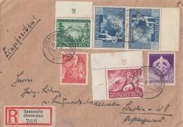DR R-Brief Mif Minr.818,820,823,836,853,855 Sosnowitz (Oberschl.)12.8.43 - Briefe U. Dokumente