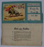 """TICKET - CORRIDA - TAUROMACHIE - ARENES DU """"SOLEIL D'OR"""" - TOULOUSE - DIMANCHE 1er OCTOBRE 1961 - OMBRE ET SOLEIL - Tickets D'entrée"""
