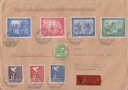 Gemeina. Wert-Brief über 25000 Mark Mif Minr.960,961,962,965/66,967/68 Wuppertal 10.6.48 - Gemeinschaftsausgaben