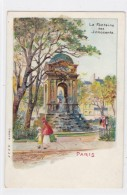 Paris France, Fontaine Des Innocents Artist Image Paris Park, C1900s Vintage Postcard Glitter Attached - France