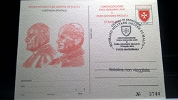 CARTOLINA POSTALE 2014 CANONIZZAZIONE PAPA GIOVANNI XXIII - GIOVANNI PAOLO II - Malta (Orden Von)