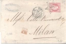 KOHN REINACH & CIE. A PARIS A VILLA VIMERCATE A MILANO 1866 OBLITERATION ETOILE NAPOLEON III YVERT NR. 32 TBE - 1863-1870 Napoléon III Lauré