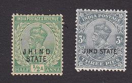 Jind, Scott #89, 109, Mint Hinged, Kind George V Overprinted, Issued 1913, 1927 - Jhind