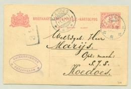 Nederlands Indië - 1918 - KBu PETJANGAAN Op Briefkaart Naar KB KOEDOES - Nederlands-Indië