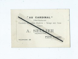 """Carte De Visite  """"Au Cardinal """"  Hôtel Restaurant - A.Sellier  -  Poix  (Somme ) - Visitenkarten"""