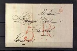 1835 , FRANCIA  , CARTA CIRCULADA DE BAYONA A  CÁCERES , PORTEOS , MARCA P.P. - 1801-1848: Precursores XIX