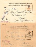 """2 Cartoline Per Prigionieri Di Guerra Da Bombey 24-11-44 E28-1-45 Censura Inglese """"passedCHP- Dirette A Locri - Prigione E Prigionieri"""