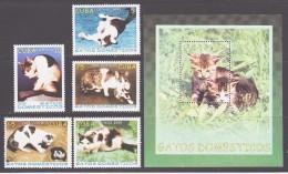 Cuba 2005 Kuba Mi 4700-4704 + Block 199(4705) House Cats / Hauskatzen **/MNH - Hauskatzen