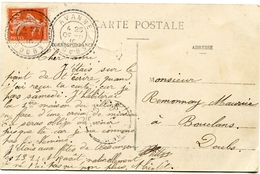 DOUBS De AVANNE Cachet Facteur Boîtier B3 Du 09/08/1910 Sur CP De AVANNE - Marcophilie (Lettres)