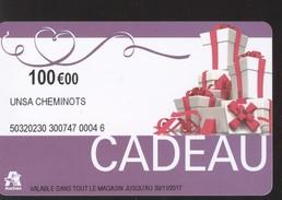 CARTE CADEAU AUCHAN - 100 € - UNSA CHEMINOTS - Cartes Cadeaux