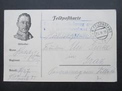 Österreich 1915 Feldpostkarte Feldpostamt 73 Blauer Stempel: Zur Weiterbeförderung Geeignet! - 1850-1918 Imperium
