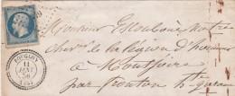 Yvert 14 Sur Lettre Cachet Perlé BOUGLON Lot Et Garonne PC 449 11/1/1856 Pour Montjoire Fronton Haute Garonne - 1849-1876: Période Classique