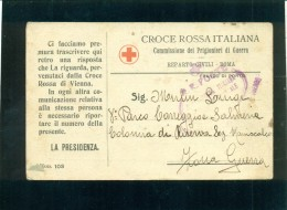 CARTOLINA POSTALE ITALIANA  IN FRANCHIGIA -CROCE ROSSA-PRIGIONIERI DI GUERRA - Guerra 1914-18