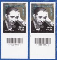 ITALIA Repubblica Piero Calamandrei Codice A Barre DX-SX Anno 2016 MNH** - 6. 1946-.. Repubblica