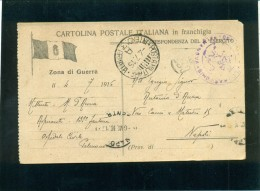 CARTOLINA POSTALE ITALIANA  IN FRANCHIGIA -POSTA MILITARE 3° Armata-CAT.CERRUTO SIMILE ALLA 50J-PER NAPOLI - Guerra 1914-18