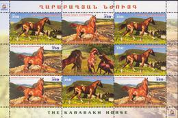 NEW NEWS KARABAKH HORSE FAUNA 2016 NAGORNO KARABAKH ARMENIA COMBI SHEET OF 9 MNH - Armenia
