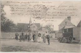 CPA 02 DAMPLEUX Place De L'Eglise Animation Roulotte Gens Du Voyage 1904 - France