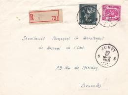N° 696 + Petit Sceau / Lettre En Recommandé De Jumet 30 3 49 - 1936-1957 Col Ouvert