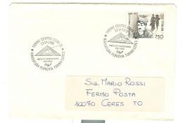 """""""RIAPERTURA FERROVIA TORINO-CERES"""", ANNULLO, SPECIALE FIGURATO, 1990, TIMBRO POSTE TORINO, - Trains"""