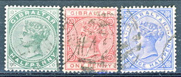 Gibilterra Victoria 1886 N. 8, 9, 11 Fil. 1 Usati Cat. € 16 - Gibilterra