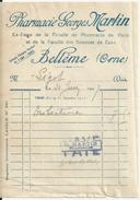 BELLEME PHARMACIE GEORGES MARTIN AVEC CACHET ANNEE 1926 - France