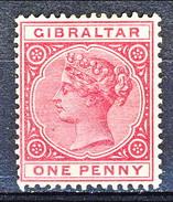 Gibilterra Victoria 1886 N. 9 P. 1 Carminio MNG Cat € 68 - Gibilterra