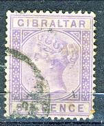 Gibilterra Victoria 1886 N. 13 P. 6 Violetto Fil. 1 Usato Cat. € 150 - Gibilterra