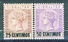 Gibilterra Victoria 1887 N. 17 C. 25 Oltremare E N. 20 C. 50 Violetto Fil. 1 MLH Cat. € 110 - Gibilterra