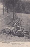 MILITARIA - 1914 TROUPES BELGES DANS LES TRANCHEES A LERRE PRES D ANVERS - MITRAILLEUSE - War Memorials