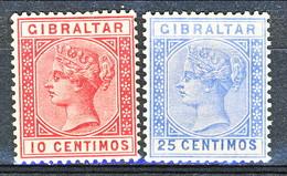 Gibilterra Victoria 1889 N. 23 C. 10 Carminio E N. 24 C. 25 Oltremare Fil 1 MH Cat. € 28,50 - Gibilterra