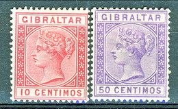 Gibilterra Victoria 1889 N. 23 C. 10 Carminio E N. 26 C. 50 Violetto Fil 1 MLH Cat. € 12 - Gibilterra