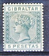 Gibilterra Victoria 1889 N. 29 Pesetas 5 Ardesia Fil 1 MLH Cat. € 70 - Gibilterra