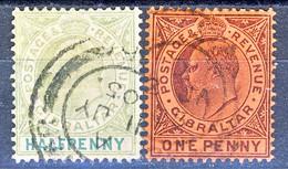 Gibilterra Edward VII 1903 N. 37 P. Mezzo Verde Grigio E Verde + N. 38 P. 1 Viola Su Rosso Fil. 1 Usati Cat. € 12 - Gibilterra