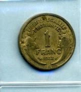 1932  1 Franc TYPE MORLON Bronze-al - Frankrijk
