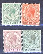 Gibilterra George V 1912-24  N. 63,64, 67, 68 MLH Fil. 2 Cat. € 20 - Gibilterra