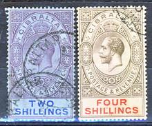 Gibilterra George V 1912-24  N. 69 S. 2 Violetto E Azzurro Su Azzurro E N. 70 S. 4 Grigio E Rosa Fil. 2 Usati Cat € 75 - Gibilterra