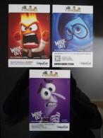 INSIDE OUT Movie Film Lot De 3 Cartes Postales - Advertising
