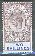 Gibilterra George V 1912-24  N. 69 S. 2 Violetto E Azzurro Su Azzurro Fil. 2 MLH Cat € 35 - Gibilterra
