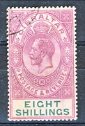 Gibilterra George V 1912-24  N. 71 S. 1 Viola Bruno E Verde Fil. 2 Usato Cat € 110 X - Gibilterra