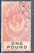 Gibilterra George V 1912-24  N. 72 £. 1 Porpora E Nero Su Rosso Fil. 2 Usato Cat € 275 X - Gibilterra