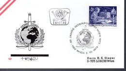 AUTRICHE    FDC    1973 Radio Police Criminelle Interpol - Polizei - Gendarmerie