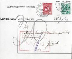 NACHPORTOMARKEN → SBK 59 Ziffer Und Kreuz 1938 Auf Brief 1948 - Portomarken