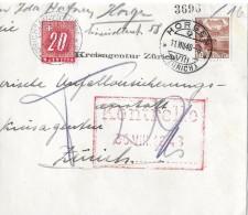 NACHPORTOMARKEN → SBK57 Ziffer Und Kreuz 1938 Auf Brief 1948 - Portomarken
