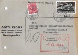 NACHPORTOMARKEN → SBK57 Ziffer Und Kreuz 1938 Auf Brief 1947 - Portomarken