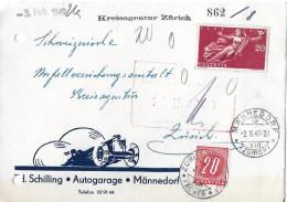NACHPORTOMARKEN → SBK57 Ziffer Und Kreuz 1938 Auf Brief 1949 - Portomarken