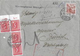 NACHPORTOMARKEN → 4x SBK54 Ziffer Und Kreuz 1938 Auf Brief 1946 - Portomarken