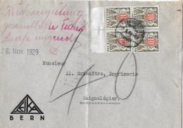 NACHPORTOMARKEN → 4er Block SBK43x Kinder Mit Wertschild 1924-26 Auf Brief 1929 - Portomarken