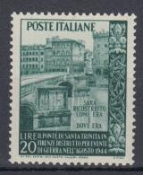 Italia - 1948 - Ricostruzione Del Ponte Di S. Trinità A Firenze ** - 1946-.. République