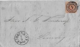 DÄNEMARK → Brief Mit 3 Ring Stempel Datiert  07.09.1855 Von Kjobenhavn  ►schöner Stempeln Geht Nicht◄ - 1851-63 (Frederik VII)