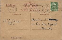 1947- C P E P  Iris Sans Valeur Utilisée Comme Simple C P  Avec 5 F. Gandon Sur L'iris - Marcophilie (Lettres)
